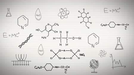 özel öğretmen : Black and white animation of chemistry and sciences subject with laboratory test tube creating elements, molecule, and atomic equation icon and doodle handwriting in notebook background used for education introduction 4k HD quality Stok Video