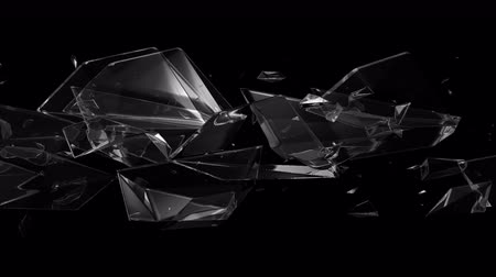 tükör : Seamless Abstract background animation of shatter glass or crystal material floating and flowing in pattern in black isolated background in 4k hd video loop