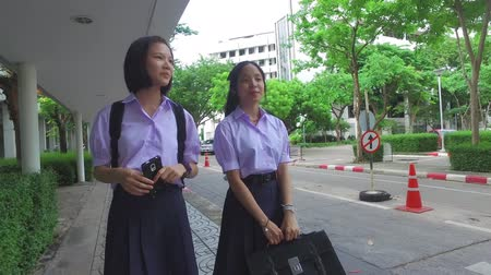 uniforme : Cute Asian Thai high schoolgirls student couple in school uniform walking and chatting on the street together to school Vídeos