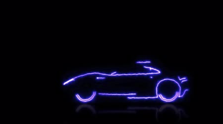 быстрый : Abstract animation of blue futuristic super car made with light beam wireframes on black isolated futuristic background. Highlight the automobile car and aerodynamic car motion design engineering technology in 4k.