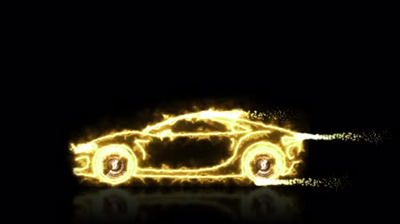 engineering : Abstract animation of golden futuristic super car made with light beam wireframes on black isolated futuristic background. Highlight the automobile car and aerodynamic car motion design engineering technology in 4k.