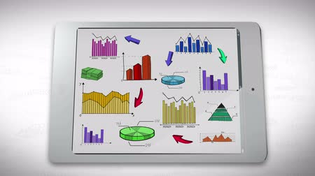 akış şeması : Animation of business, marketing and financial colorful statistic information doodle such as graph chart and diagram in a smart phone tablet used for business marketing education and financial presentation title in 4k ultra HD