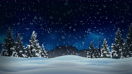 queda de neve : Seamless animation white snowy and snow winter landscape with dry and christmas trees and mountain background and snowflakes falling in snow blue sky snowy concept in 4k hd loop