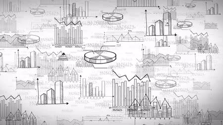 matemática : Seamless animation of business, marketing and financial statistic black and white handwriting doodle information such as graph chart and diagram moving as background presentation title in 4k ultra HD loop Vídeos