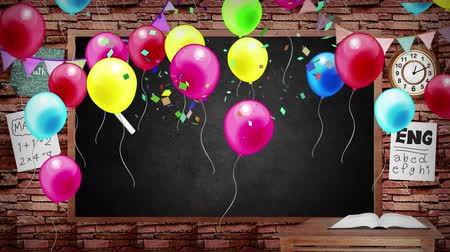 okula geri : Animation of back to school blackboard background kid party celebration. School blackboard with classroom interior design. With balloon confetti fun classroom vacation decoration board. In school and fun kid balloon party concept in 4k hd.