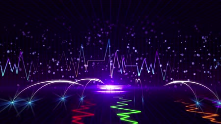 field measurements : Seamless 3D abstract animation of vibration graph pulse or earthquake seismograph or polygraph. In 3d geometric square terrain wireframe zooming with pulse background pattern. In colorful electronic polygraph measurement device concept Stock Footage