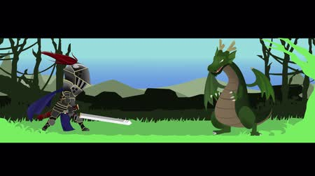 slayer : Seamless animation cartoon of a knight warrior fighting and slashing a dragon with his great sword in medieval fantasy RPG game concept 4k loop.