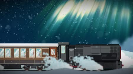 northen : Seamless animation of cartoon train running through snowy winter scene atmophere with northen aurora light in christmas transportation concept in 4k loop