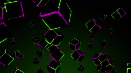 grafika : Seamless animation of color changing 3d polygon cubic block falling. Geometric square block motion graphic movement with neon light in futuristic polygon background pattern concept in 4k. Wideo