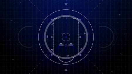 сканирование : Seamless simulation of motion graphic underwater radar target lock on interface or auto pilot control sensor screen with numbers, scale, measurement and light on computer screen pattern in abstract technology background 4k loop Стоковые видеозаписи