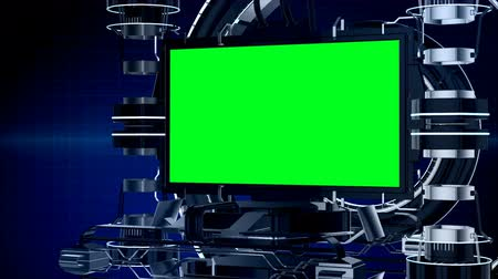 интерьер : Seamless 3d animation news reporting screen television or media program interface with mechanical stage in chroma key green screen video production background in modern futuristic technology concept 4k loop Стоковые видеозаписи
