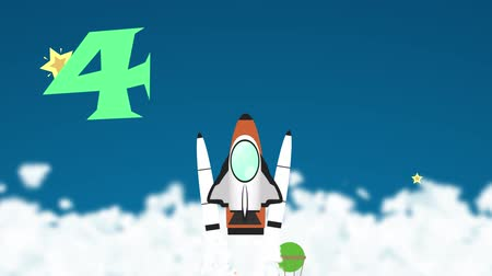 Марс : Animation cartoon rocket count down introduction for children and kid education. The scene show a rocket takeoff from earth into the space and young astronaut floating out for exploration in space station in astronomy and science school education concept