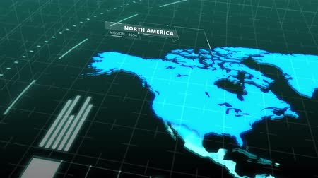 штифт : Seamless animation world map showing major continents of America Asia Europe Africa Australia in digital computer hologram. Computer scanning world map continent in business telecommunication internet network or satellite technology concept in 4k loop