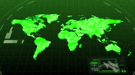 штифт : Seamless animation green environment world map showing major continents of America Asia Europe Africa Australia in digital computer hologram. Computer scanning world map continent in clean energy green environment or satellite technology concept in 4k loo