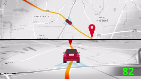 運輸 : Animation of tranportation car traveling to distination by satellite GPS in motion graphic map in Thai language. GPS map technology in computer network application and tourism guide concept 4k.