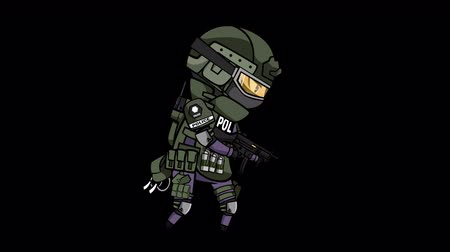 special unit : Seamless animation cartoon special force soldier or police wearing assault bulletproof uniform shooting submachine gun in alpha transparent background 4k loop