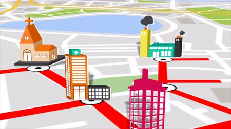 city resident : Seamless animation of gps satellite city map and urban landmark location with 3d buildings and real estate. Motion graphic map application and navigation technology in computer software concept 4k.