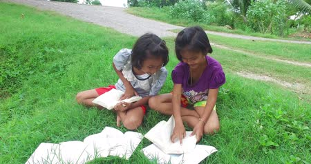 Cute Asian Thai girl children couple in casual clothes reading book and study in green field rural nature environment. Happy young kindergarten or elementary schoolgirls learning in kid education concept in HD