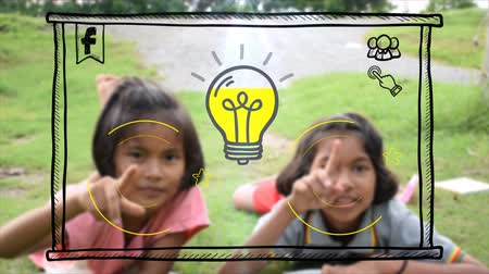 Asian Thai girl children couple is pressing motion graphic doodle social media sign and internet interface button and drawing symbol in the air with creative imagination in computer technology or education for poor rural kids concept. Dostupné videozáznamy