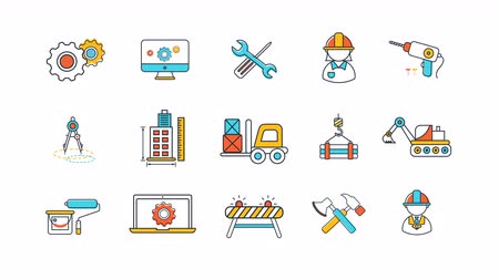 Animation flat line civil engineering and construction site industry icon. Cartoon graphic construction tool equipment sign and symbol icon collection set 4k.