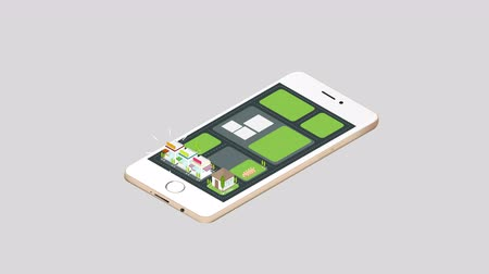 Animation real estate house and commercial building and cityscape architecture popping out on a smart phone mobile screen with network technology application concept in 3D isometric design in isolated background in 4k