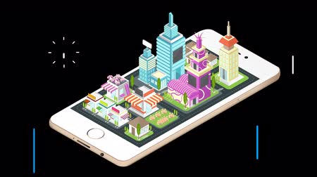 Alpha background animation of real estate house and commercial building and cityscape architecture popping out on a smart phone mobile screen with network technology application concept in 3D isometric design in alpha background in 4k Dostupné videozáznamy