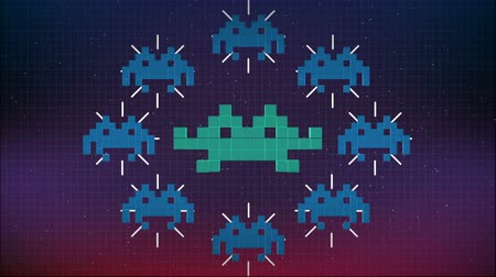 Seamless animation of cute 8 bit pixel space game or computer virus attacking your computer. Pixel virus or spyware background in internet security concept 4k Dostupné videozáznamy