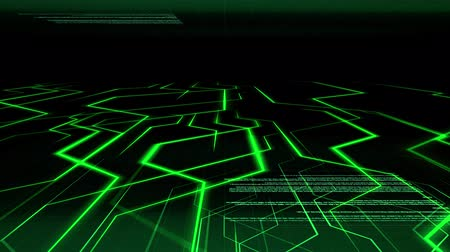 Seamless abstract green light animation background pattern of electronic circuit current with computer source code moving in background. Internet and telecommunication technology concept.