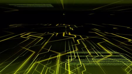 Seamless abstract gold light animation background pattern of electronic circuit current with computer source code moving in background. Internet and telecommunication technology concept. Dostupné videozáznamy