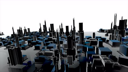 3D animation of growing city building and modern architecture construction of cityscape in aerial view and industrial concept in white background 4k