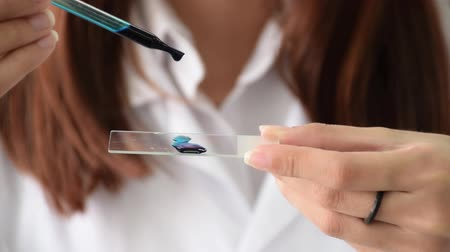 Closeup of female scientist hand working in laboratory by dropping a violet dye on slide with dropper for bacteria testing in chemistry science education concept. Dostupné videozáznamy
