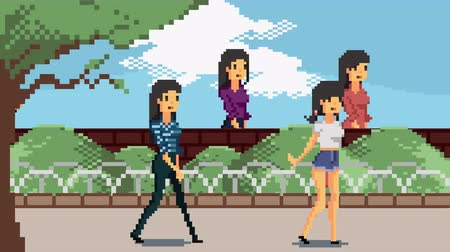 Retro pixel art game character animation of various people walking in the park scene animation in 4k