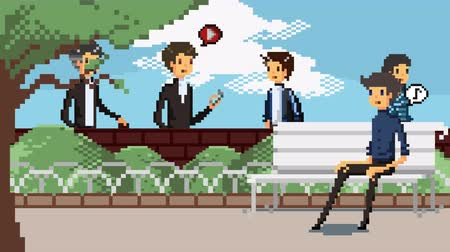 arcades : Retro pixel art game fashionable characters animation of various people walking dating and meeting for actrivities in the park and brick wall background scene animation in 4k Stock Footage