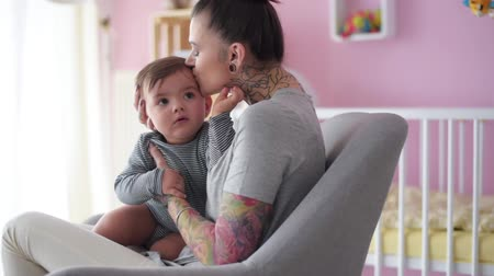 tatuagem : Mothers love is just unlimited Stock Footage