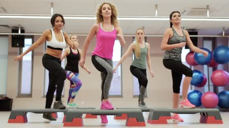 move well : Fitness women high fiving after gym session Stock Footage