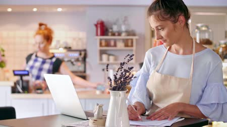businesspeople : Cafe owner using a laptop at cafe Stock Footage