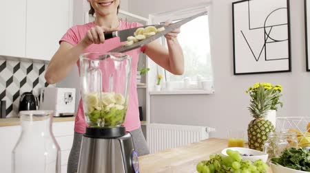 kitchen blender : Young woman preparing fruit smoothie at kitchen