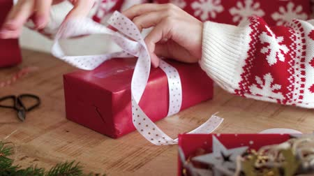 wrapped up : Womans hands holding the christmas present Stock Footage