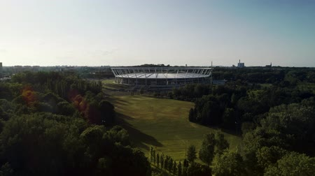 Drone view of urban stadium in the park