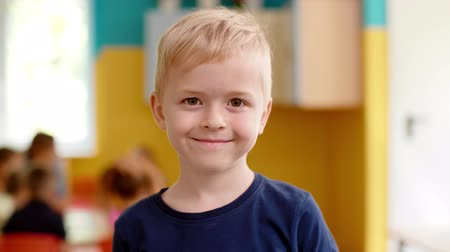 Portrait of smiling preschool boy Vídeos