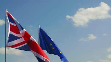 confronto : Video of British Flag and European Union flag