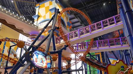 travel theme : Kuala Lumpur,Malaysia -April 20,2019 : Berjaya Times Squares Theme Park is the largest indoor theme park offering thrilling rides and games for the whole family.People can seen playing roller coaster.