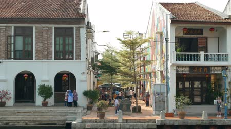 rickshaw : Malacca,Malaysia - May 18,2019: Scenic view of the Malacca City,people can seen exploring around it. It has been listed as UNESCO World Heritage Site since 772008.