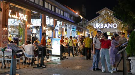 bazar : Bangkok,Thailand - November 13,2019 : Scenic view of the Asiatique The Riverfront, people can seen exploring around it and having their dinner in the restaurant.