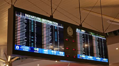 Kuala Lumpur,Malaysia - November 12,2019 : International Airport Departure Information to check the status of a flights at the KLIA 2 airport,Malaysia.