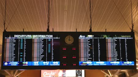 Kuala Lumpur,Malaysia - November 11 ,2019 : International Airport Departure Information to check the status of a flights at the KLIA 2 airport,Malaysia.