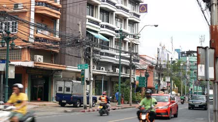 Bangkok,Thailand - November 12 ,2019 : Scenic view of the road traffic at the Talat Phlu, Bangkok