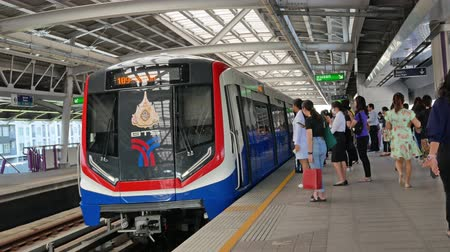 Bangkok,Thailand - Nov 12,2019 : Bangkok BTS skytrain public transport passing through Wutthakat station. BTS has also become the choice mode of transport for people living and working in Bangkok.