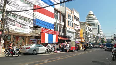 Bangkok, Thailand-Nov 18,2019 :Busy traffic view at Chinatown Bangkok which is located at Yaowarat Road.Chinatown Bangkok is one of the largest Chinatowns in the world.People can seen exploring around