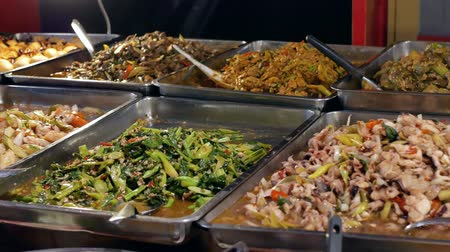 food court : Various types of dishes selling at the food stall.